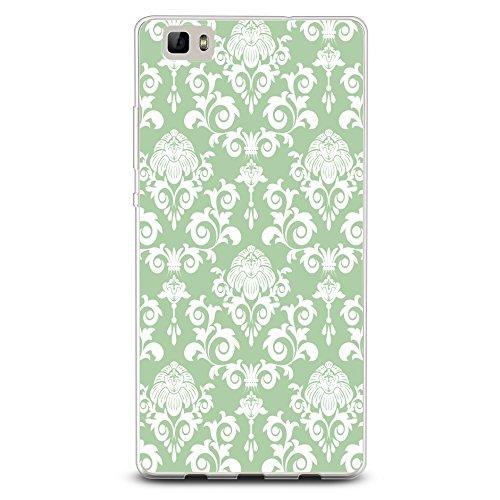 CasesByLorraine - Carcasa para Huawei P8 Lite (poliuretano termoplástico), diseño de damasco, color verde menta