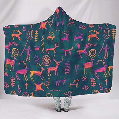 Fineiwillgo Sudadera con capucha original con texto dibujado a mano, muy suave y cómoda, sudadera con capucha para estudiantes, manta para sofá o sillón, color blanco, 150 x 200 cm