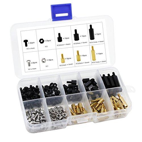 HSeaMall - Confezione da 180 pezzi di distanziali esagonali in nylon, separatori in ottone, viti e dadi, kit di pezzi assortiti