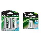 EnergizerRechargeable D Batteries, NiMH, 2500 mAh, 2 count & Energizer Rechargeable 9 volt Battery, (NH22NBP)