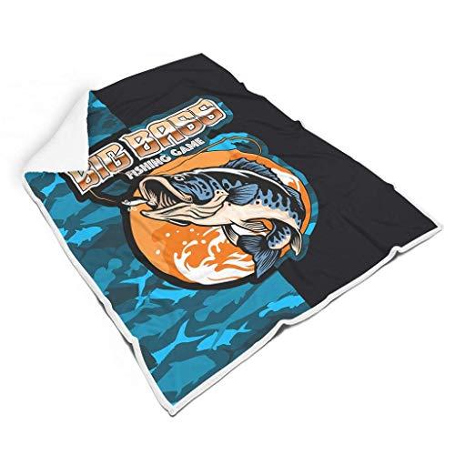 Rcivdkem Big Bass Fishing Game Camouflage, CARP, Makes me Happy Morbida coperta in microfibra reversibile calda lavabile coperta per tutte le stagioni bianco
