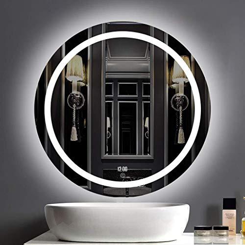 Led-badkamerspiegel, traploos dimmen met achtergrondverlichting en tijd-temperatuurweergave vinger-touch-lichtspiegel/voor cosmetisch make-up of scheren