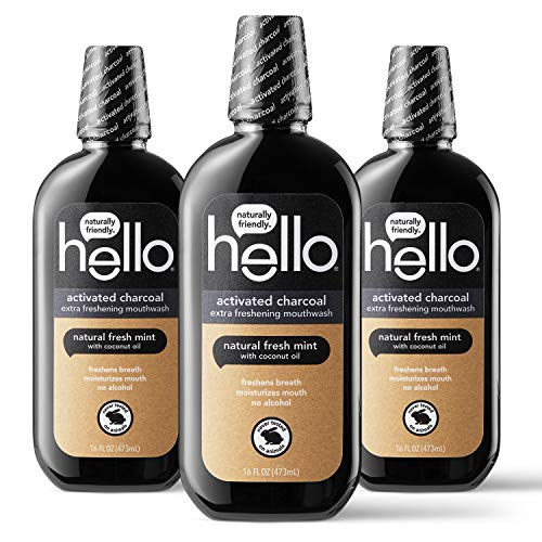 Hello Oral Care Activated Charcoal Extra Freshening Fluoride Free and Alcohol Free Mouthwash with Natural Fresh Mint and Coconut Oil, 3 Count