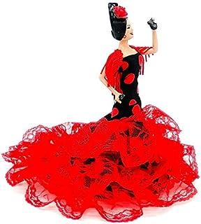 Folk Artesanía Sammelpuppe 19 cm. Andalusisches Flamenco-Regionalkleid mit Kamm España. Neues Modell. Rotes Kleid