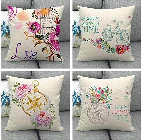 JgZATOA Flower Bird Cage Pillow Covers Pillow Case Cover Cushion Home Bedroom Sofa Cushion Cover Car Decor 45 X 45Cm Set Of 4
