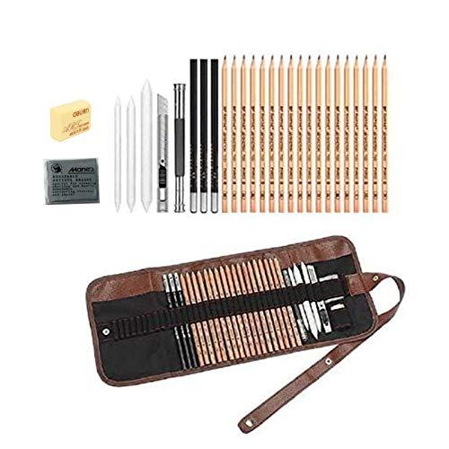 Skizze Bleistift Set, Southstar 29 Stück Skizzierstifte Künstler Art Kit für Skizzen Zeichnen mit Kohlestifte Papierstifte Bleistifthalter Radier im Canvas Beutel für Anfänger und Künstler