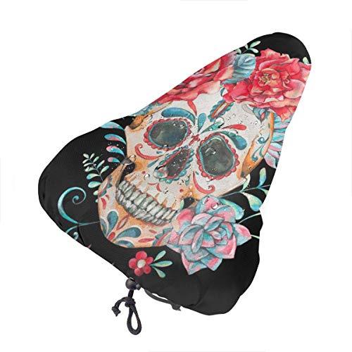 Harla Cráneo con Cadenas de Rosas Funda de sillín de Bicicleta Impermeable Extra Suave - Cojín de sillín de Bicicleta con Cubierta Resistente al Agua y al Polvo