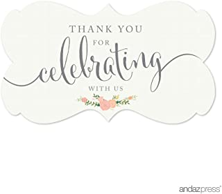 Andaz Press Fancy Frame Rectangular Label Stickers, Thank You for Celebrating With Us, Floral Roses, 36-Pack