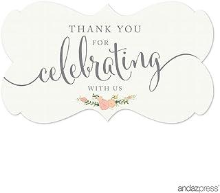 ملصقات ملصقات ملصقات ملصقات بعلامة مستطيلة الشكل بتصميم عبارة Thank You for Celebrating With Us من Andaz Preses، زهرية الل...