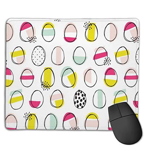 Uova Pasqua Disegnare a mano tappetini per mouse, tappetino per mouse antiscivolo, tappetino per mouse lavabile con bordo cucito per giochi, 7 x 8,7 pollici