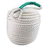 Bang4buck Boat Rope, Polypropylene Docking Rope Three Strand Dockline Braided Anchor Line/Sailboat/Sled Line with Thimble and 5850LB Breaking Strain- Super Strong (Green Timble, 1/2' 100')