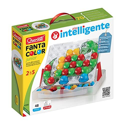 Quercetti- Fantacolor Junior Gioco Educativo, Multicolore, 48 bottoni, 2 anni +, 4190