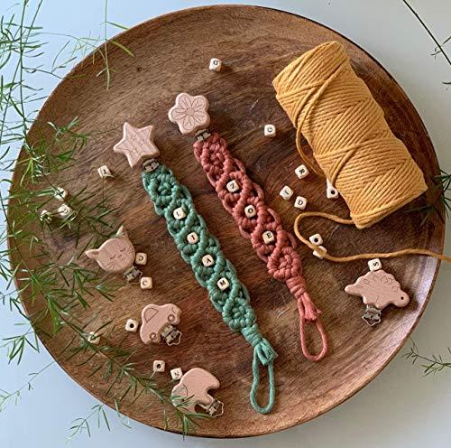 Makramee Schnullerkette personalisiert mit Namen Geschenk Geburt Junge Mädchen Baby Babyparty Accessoires