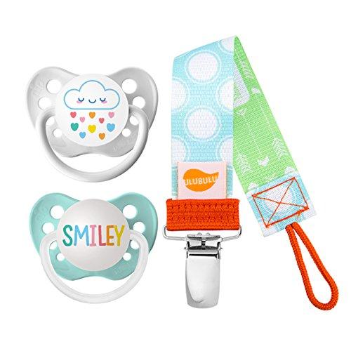 Ulubulu Rainbow Cloud and Smiley Designs/Pacifier, 6-18 Months