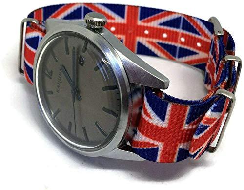 N.at.O Zulu G10 Uhrenarmband, 22 mm, rot, weiß, blau, britische Flagge, Union Jack-Muster, Edelstahl-Schnalle
