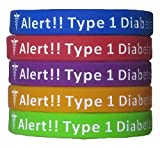 The MORin Store Type 1 Diabetes Bracelets Silicone Medical Alert Wristbands (Pack of 5) Adults & Kids Sizes (9 inches)