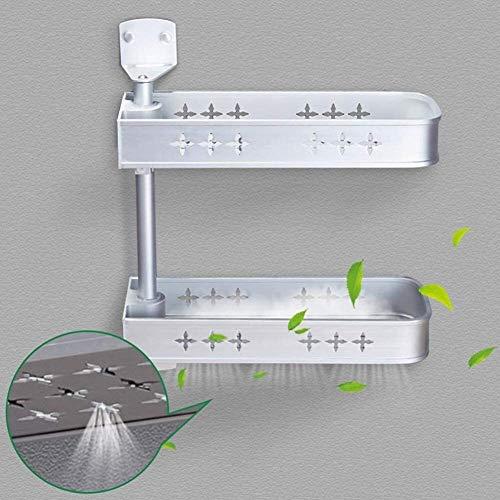 AINIYF Montado en la Pared del baño Plataforma de baño de Ducha de Esquina Organizador Corte Libre rotativo de Aluminio del Espacio de Plata, 2 Métodos de instalación (Color: Capa 4)