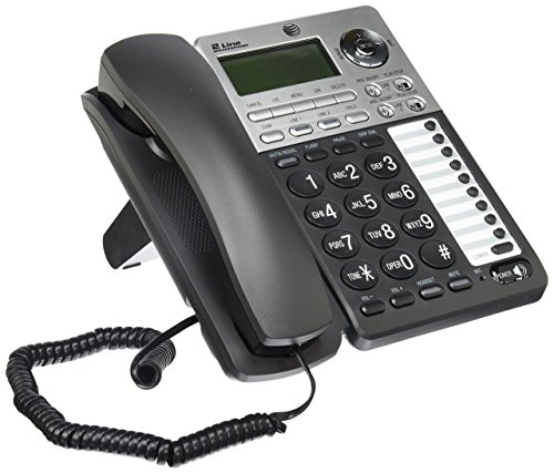 AT&T ML17939 2-Line Corded Telephone with Digital Answering System and Caller ID/Call Waiting, Black/Silver (Renewed)