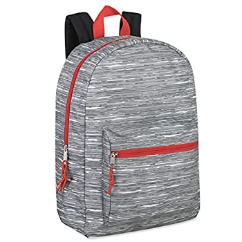 Trailmaker Boys Printed 17 Inch Backpack with Pencil Pouch for School Travel Hiking Camping  Grey
