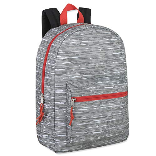 Trailmaker Boys Printed 17 Inch Backpack with Pencil Pouch for School, Travel, Hiking, Camping (Grey)