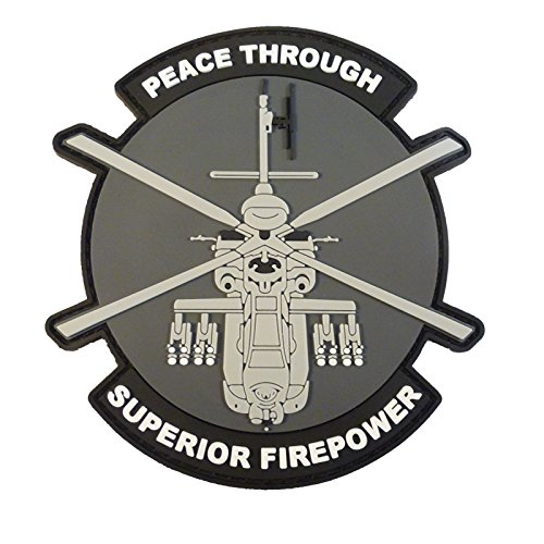 Peace Through Superior Firepower AH-64 Apache Helicopter Morale PVC Rubber 3D Touch Fastener Patch