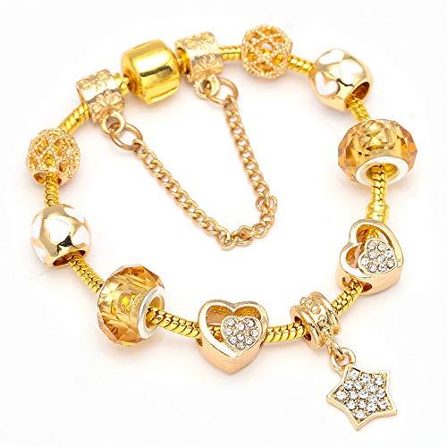 Color oro pulseras finas con brillantes estrellas abalorios pulsera DIY joyería de moda regalo para las mujeres C01 19cm