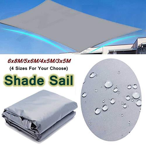 no-branded Tarp Tarpaulin Waterproof Sun Shelter Awning Sunshade Sun Sail For Outdoor Beach Camping Garden Patio Sun Canopy Tent Shade Pool Cover Waterproof Tarp MDYHJDHYQ (Color : Gray, Size : 5X6M)