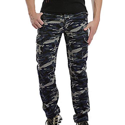 AYG Calientan los pantalones de lana polar pantalones cargo Camo Espesar para Hombre Azul(dark Blue Camo) 33W / 32L