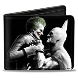Buckle-Down mens Buckle-down Pu Bifold - Arkham City Batman & Joker Fight Pose Black/Grays/White Bi Fold Wallet, Multicolor, 4.0 x 3.5 US