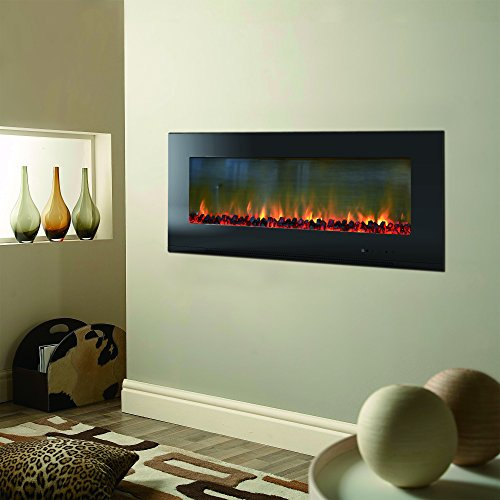 CAMBRIDGE 56-in. Metropolitan Wall-Mount Black with Burning Log Display, CAMBR56WMEF-2BLK Electric Fireplace