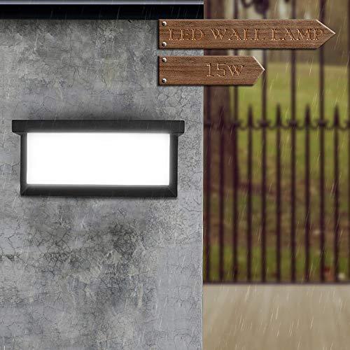 Konesky Aplique de Exterior LED, 15W Luz de Pared Impermeable Balcon Corredor de La Esquina Arriba Abajo Lámpara de Pared Jardín Camino (Doble Lado (Blanco Frío))