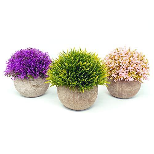 Lovelyz - Planta artificial con maceta, mini flores, bonsái, para decoración de boda, oficina, regalo, balcón, salón, casa, juego de 3