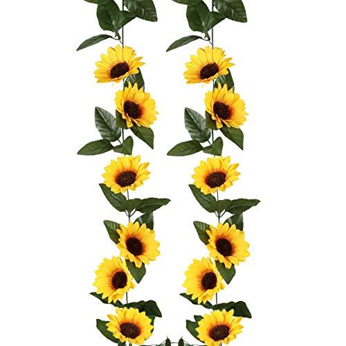 Artificial Sunflower Garland About 2.4 m Length Simulation Plants Vine Leaf Hanging Supplies(1pcs)
