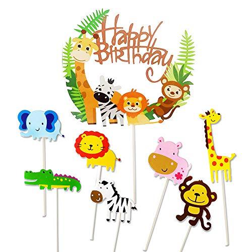 36 Piezas Cupcake Toppers Lindo Selva Temática Animales En Forma de Pastel Toppers,Animales Decoraciones Torta para Niños Ducha de Bebé Fiesta de Cumpleaños,Contiene 1 Happy Birthday Banner (a-36)