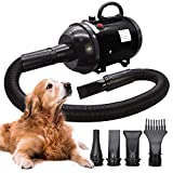 Dog Blow Dryer 2800W/3.8HP Dog Hair Dryer Stepless Adjustable Speed Temperature Pet Hair Dryers for Dog Grooming with 4 Different Nozzles