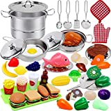Toys for 3 4 Year Old Girls Boys,45PCS Stainless Steel Play Kitchen Accessories Toys for Girls,Play Food Sets for Kids Kitchen,Toddler Toys for Girl