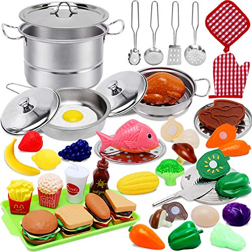 Toys for 2 3 4 Year Old Girls Boys,Play Kitchen Accessories,45 PCS Play Food Set for Kids Kitchen with Stainless Steel Cookware Pots and Pans Play Foods Toys for Age 2-4 Years Old