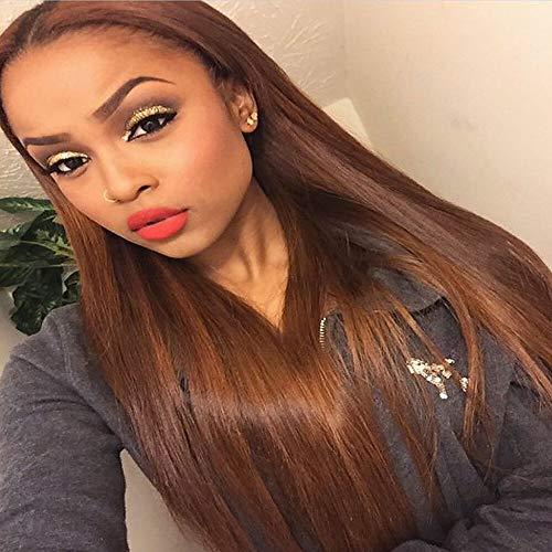 Novopus Perücke:Echthaar Ohne Klebstoff und volle Spitze Vollspitze Perücke Rihanna Stil Glatt Ombre Perücke Haardichte mit Babyhaar Gefärbte Haarspitzen (Ombré Hair) Natürlicher Haaransatz: