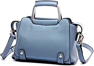 Leather 2018 New Women's Handbag Leather Handbag Leather Shoulder Wallet Handbag Wallet Waterproof (Color : Blue, Size : M)