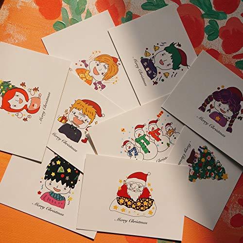 TELEIYA Set Cartoline di Natale 18 Pz con Babbo Natale, 9 Design Natalizio Biglietto di Auguri, 14,8 x 10,5 cm per Famiglia Amici Nonni Membri della Famiglia | Design Unico (Babbo Natale)