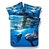 GFYL Juego de Funda nórdica, diseño de delfín Azul súper Suave y cálido de 3 Piezas, Ropa de Cama con edredón con Estampado Animal 3D,B,260 * 225cm(103 * 89inch)