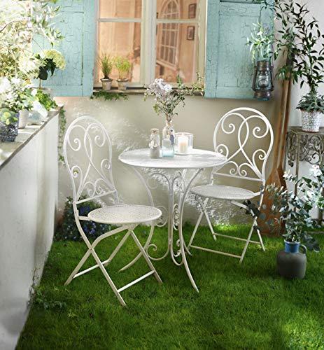 """3 tlg. Bistro Set """"White Romance"""" aus Metall, weiß, Gartenmöbel Sitzgruppe Tisch + 2 Stühle"""