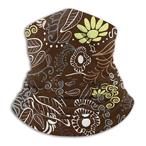 Brown Floral Bandana Face Mask, Breathable Gaiter Face Cover, Multi Use Magic Neck Warmer for Dust Wind Sun Protection for Men Women Outdoor