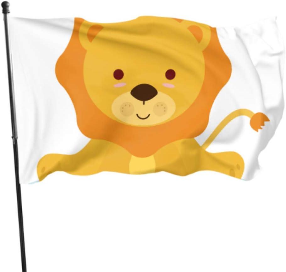 AQQA Cute Activly Optimistic Lion Cartoon Bandera de Pared Decoración Exterior Banderas Decorativas 3x5 pies Colores Vibrantes Calidad Poliéster y Ojales de latón