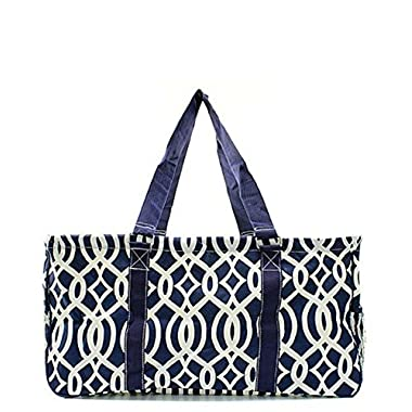 N. Gil All Purpose Open Top 23  Classic Extra Large Utility Tote Bag 1 (Vine Navy Blue)