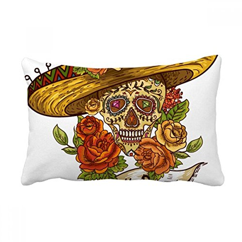 Sombrero Suger Crânio México Dia dos Mortos Almofada Almofada Almofada Almofada Lombar Decoração de Casa