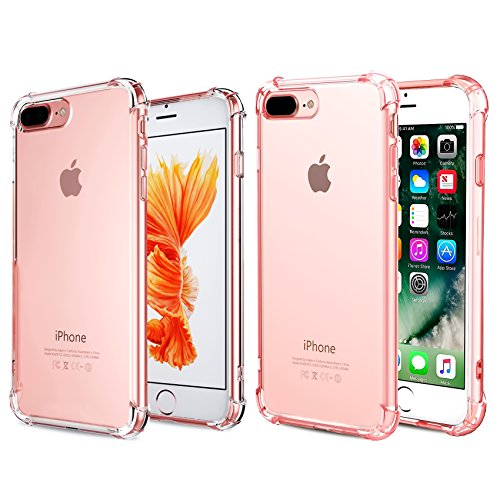 CaseHQ iPhone 7 Plus Case, iPhone 8 Plus Case,Crystal Clear Shock Absorption Bumper Slim Fit,Heavy Duty Protection TPU Cover Case for Apple iPhone 7 Plus (2016)/iPhone 8 Plus (2017) -Clear+Rosegold