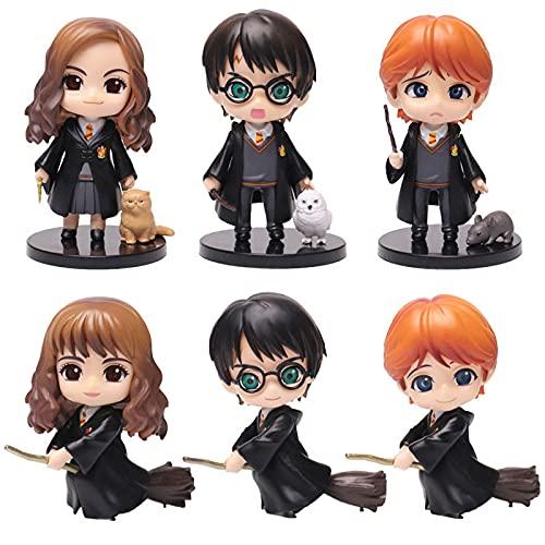 SISTOUSEN 6Pcs Harry Potter Ron Weasley Hermione Granger Draco Malfoy Severus Snape Mini Figura Decoración Figuras Cumpleaños Modelo