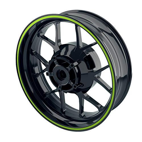 OneWheel Felgenrandaufkleber 6mm Motorrad & Auto (15-19 Zoll) - Farbe wählbar - 10 Felgenstreifen für Vorder- & Hinterreifen (Grün - glänzend)