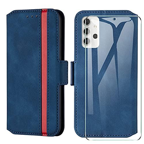 HHUIWIND Funda para Samsung Galaxy A32 5G de piel + cristal blindado, funda para Samsung Galaxy A32 5G, funda para teléfono móvil con ranuras para tarjetas, color azul 01